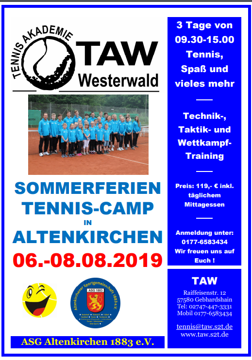 Sommerferien Tenniscamp in Altenkirchen